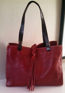 My custom red leather tote from the Buffalo Collection