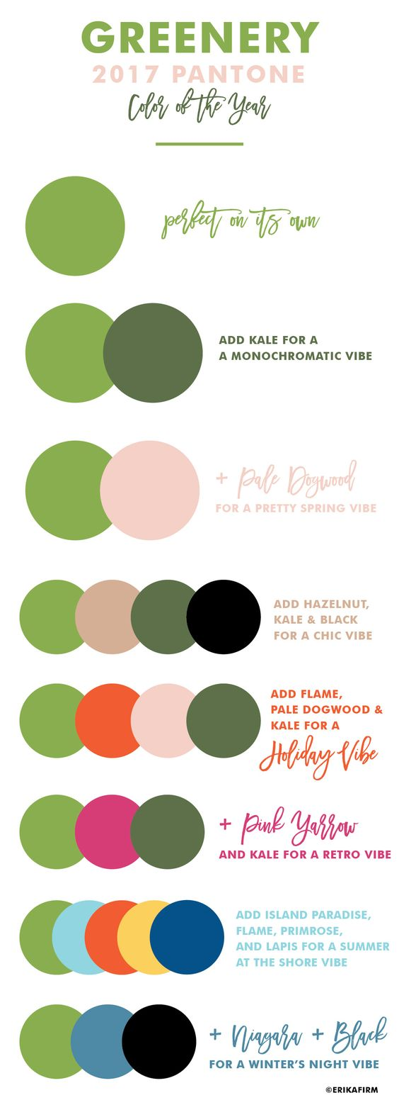 mixing Pantone Greenery with other colors