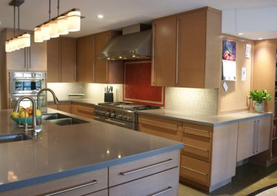 Transitional Kitchen with Red Backsplash