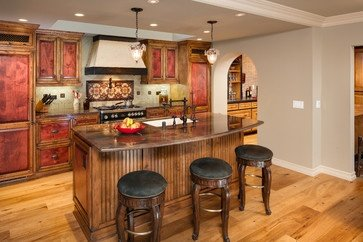 Kitchen with eating area at island.  Designed by Catherine Monaghan