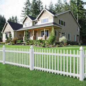 house with white picket fence, green grass