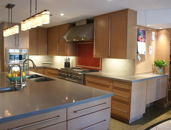 Transitional Kitchen with Red Backsplash
